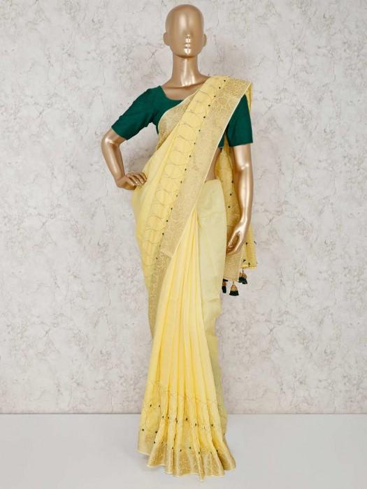Yellow Wedding Semi Silk Saree