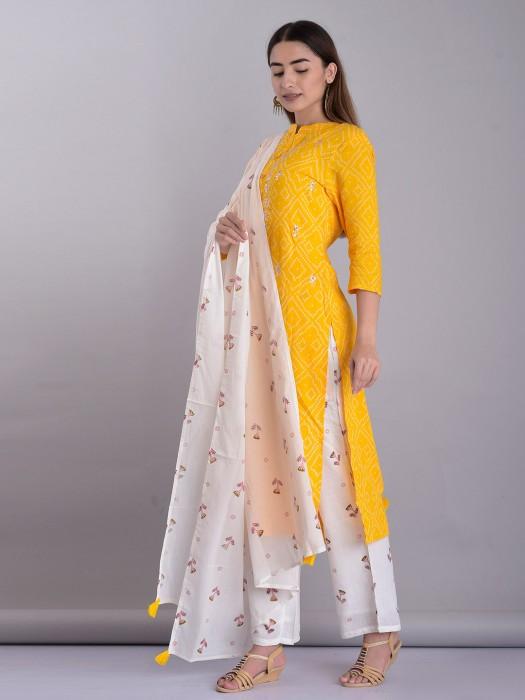Yellow Zari Weaving Cotto Pant Set