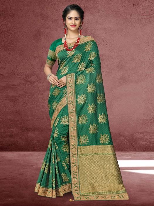 Zari And Stone Work Green Silk Saree