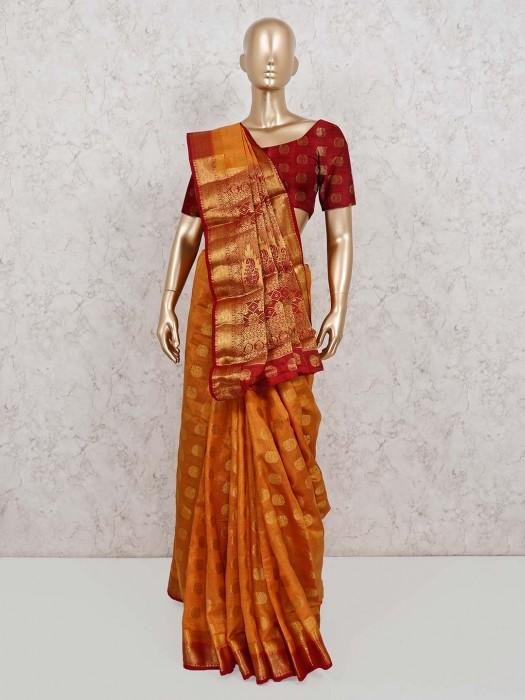 Zari Weaving Semi Cotton Silk Saree In Orange