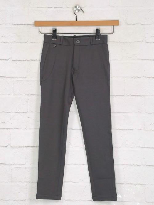 Zillian Beige Casual Wear Cotton Trouser For Boys