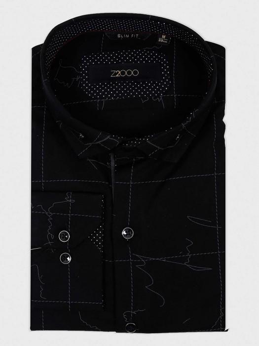 Zillian Black Cotton Fabric Printed Shirt