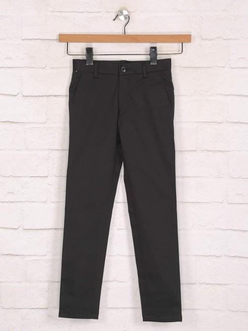 Zillian Casual Wear Black Cotton Trouser