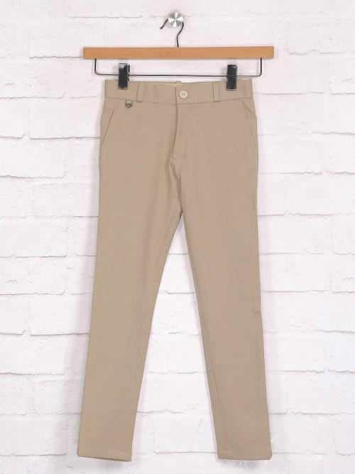 Zillian Khaki Trouser In Cotton For Boys