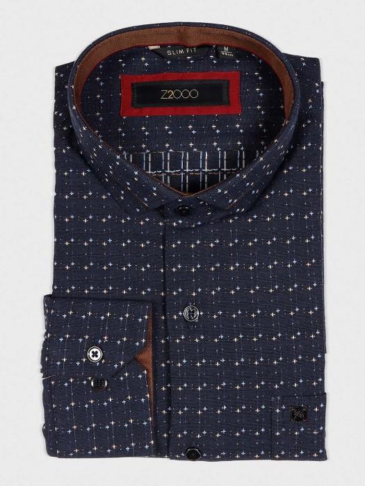 Zillian Navy Hued Zitter Pattern Shirt