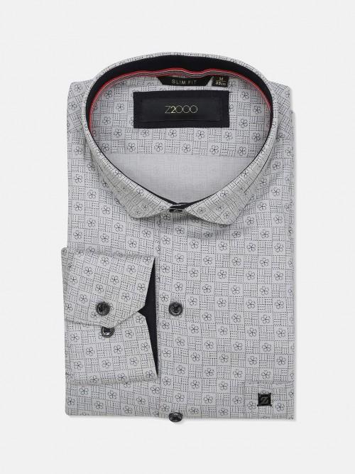 Zillian Printed Cotton Grey Formal Shirt