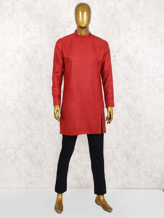 Zitter Pattern Maroon Side Slits Buttoned Kurta Suit