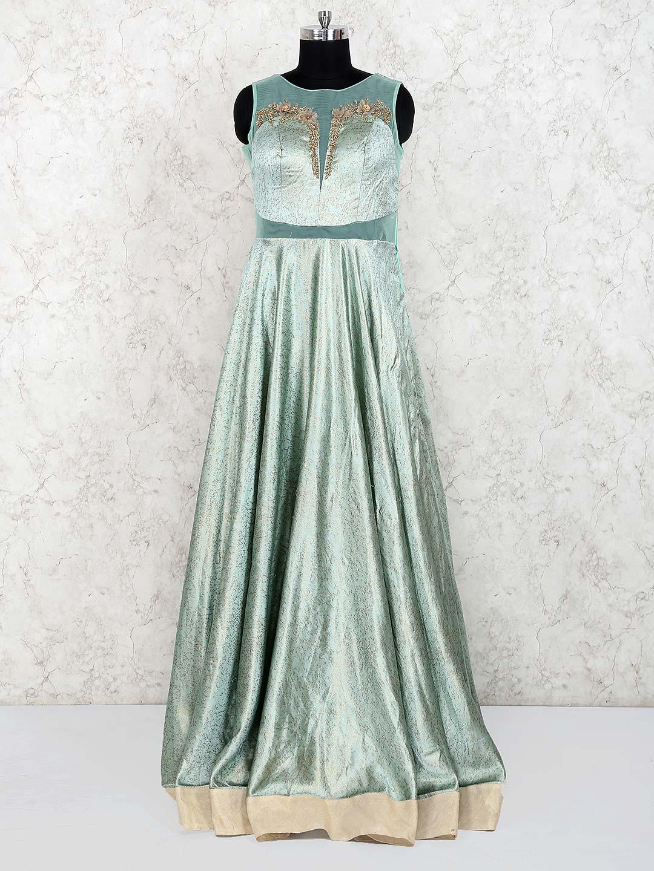 Light green color silk designer gown G3 WGO1488  