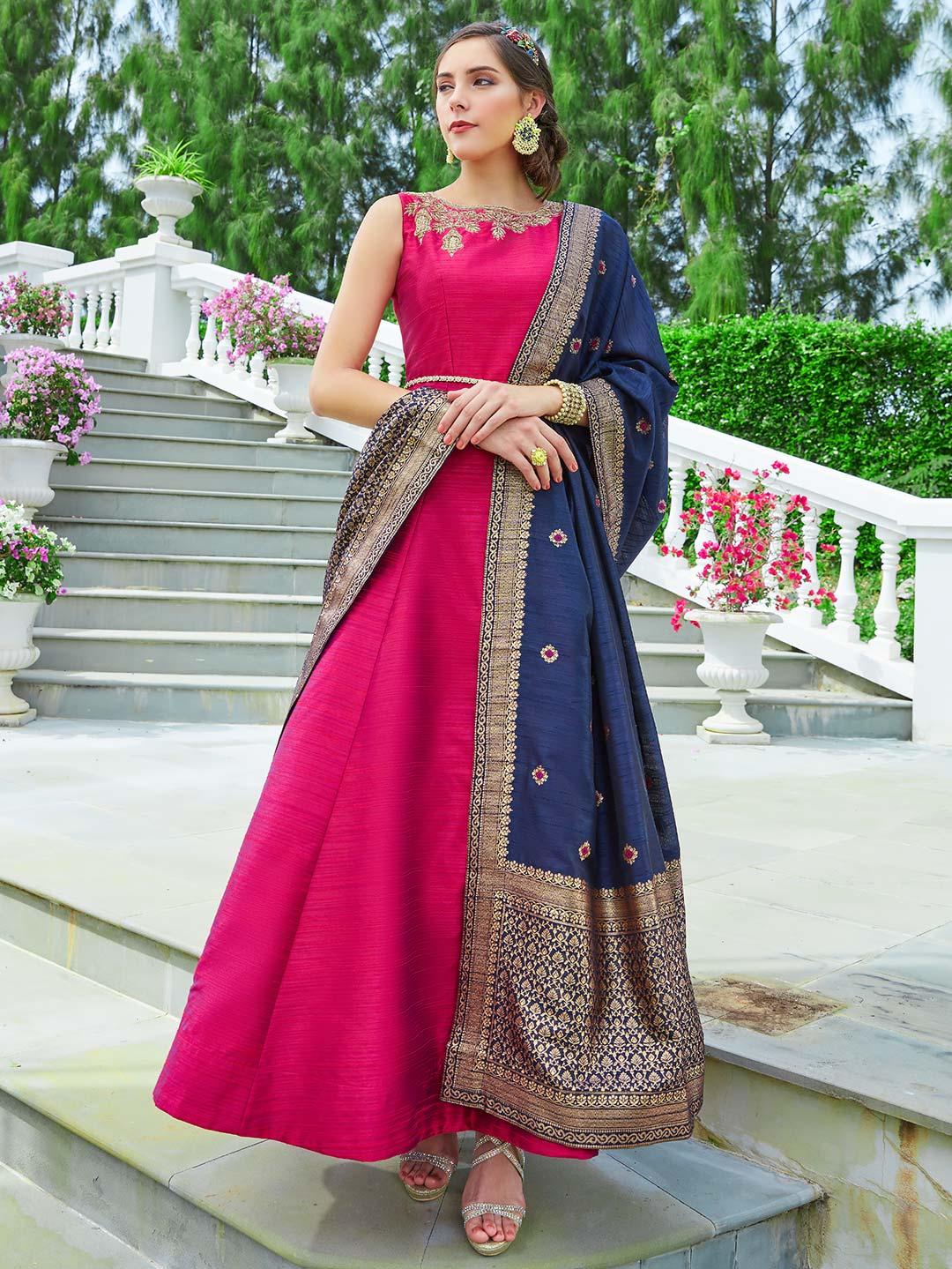 955020f097 Lovely magenta hue raw silk anarkali suit - G3-WSS14139 | G3fashion ...