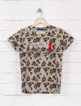 99 Balloon beige printed slim fit t-shirt
