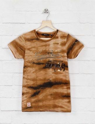 99 Balloon foil printed casual brown t-shirt
