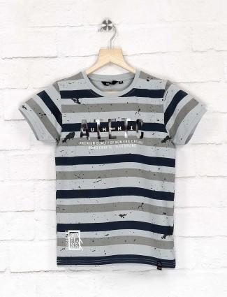 99 Balloon grey and navy hue stripe t-shirt