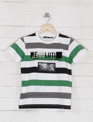 99 Balloon white and grey stripe t-shirt