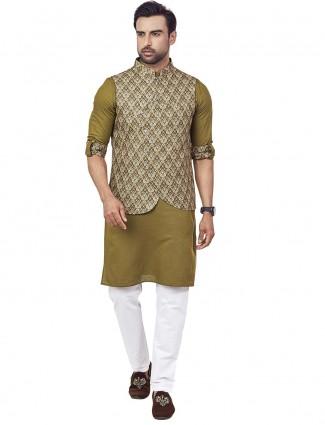Green printed waistcoat kurta set for mens