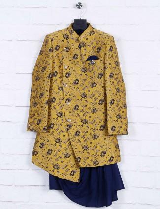 Mustard yellow terry rayon fabric indo western