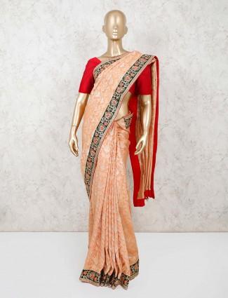 Orange pashmina silk saree for wedding