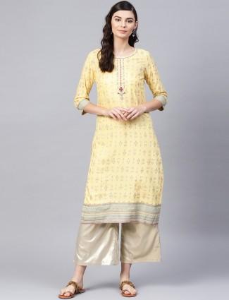 W yellow hue printed kurti in cotton fabric