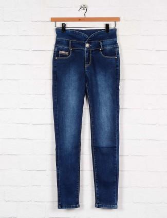 washed blue denim high waist jeans for women