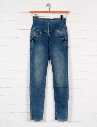 women high waist denim jeans in blue