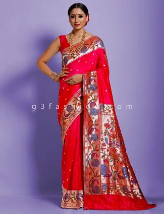 Adorable magenta designer banarasi paithani silk saree