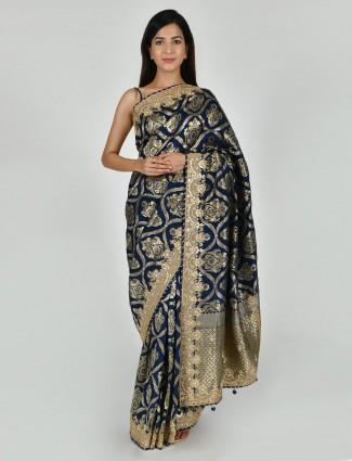 Adorable navy tussar silk saree with nice pallu