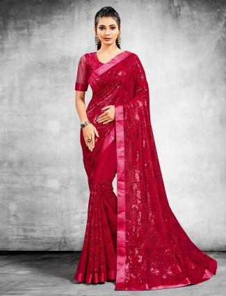 Adorn red georgette party wear saree