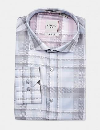 Albino light blue checks cotton shirt