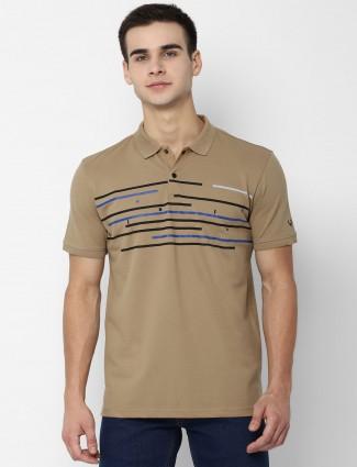 Allen Solly beige stripe half sleeves t-shirt