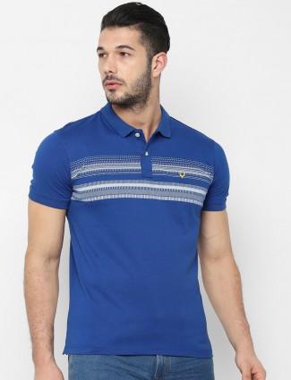 Allen Solly blue stripe polo neck t-shirt
