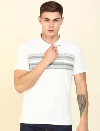 Allen Solly casual wear white stripe t-shirt