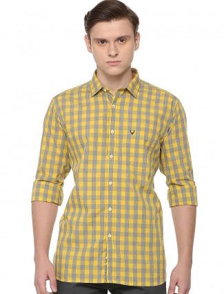 Allen Solly checks yellow hued shirt