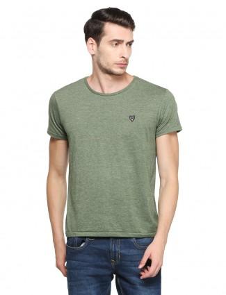 Allen Solly Green solid casual wear t-shirt