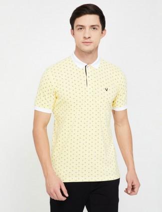 Allen Solly light yellow printed mens t-shirt