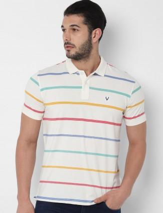 Allen Solly mens white stripe design t-shirt