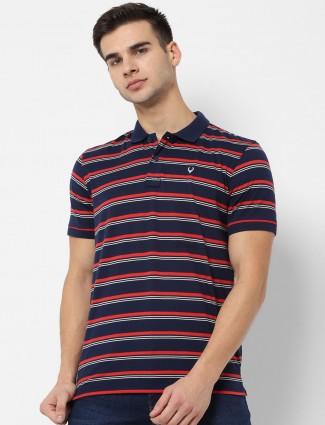 Allen Solly navy stripe half sleeves t-shirt