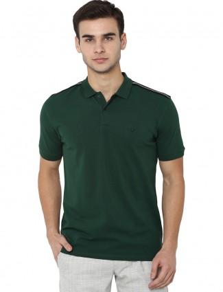 Allen Solly solid bottle green t-shirt