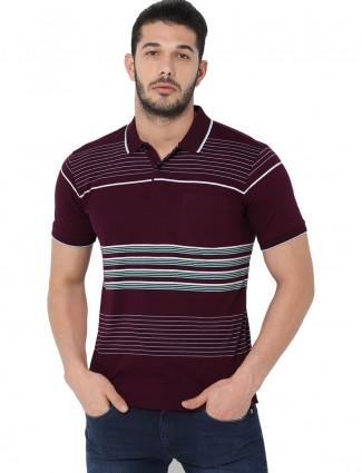 Allen Solly stripe wine maroon mens t-shirt