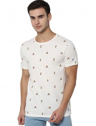 Allen Solly white printed round neck t-shirt