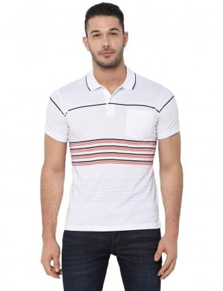 Allen Solly white stripe patch pocket t-shirt