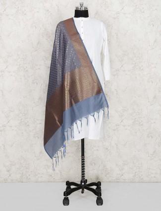 Amazing grey color silk dupatta