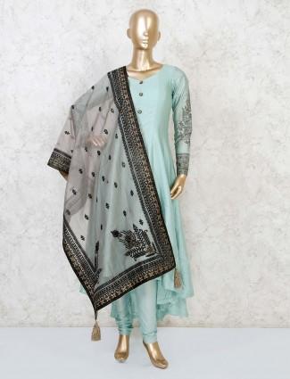 Anarkali sea green cotton silk salwar suit