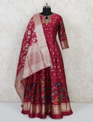 Anarkali style maroon suit in raw silk