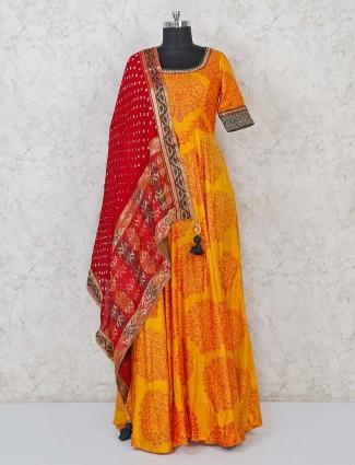 Anarkali suit in mustard yellow cotton silk