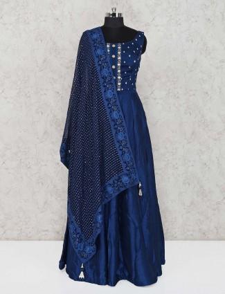 Anarkali suit in navy raw silk