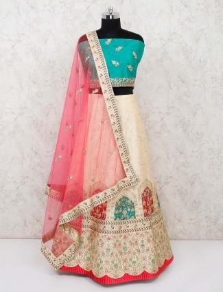 Aqua and cream silk wedding semi stitched lehenga choli