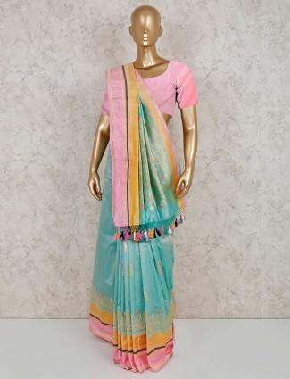 Aqua banarasi silk beautiful saree