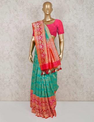Aqua banarasi silk saree for wedding