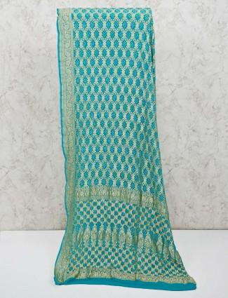 Aqua bandhej printed pattern saree
