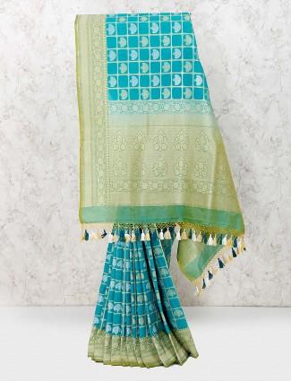 Aqua color banarasi semi silk lovely saree