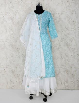 Aqua color bandhni printed cotton festive lehenga suit